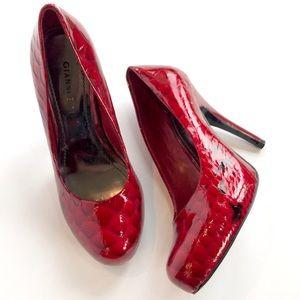 Gianni Bini | red animal print round toe heels
